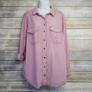 Free People Pink Oversized Boyfriend Button Down
