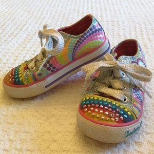 Skechers size 8 lights work glitter shoe string