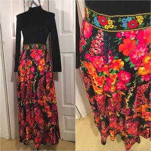 Vintage black and floral dress size small
