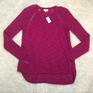 Lou & Grey Magenta Open Knit Light Sweater