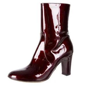 EUC Aquatalia Burgundy Patent Leather Ankle Boots