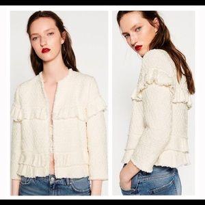 Zara Ruffle Tweed Jacket XS NWT
