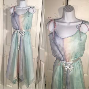 Vintage pastel Striped dress size Small
