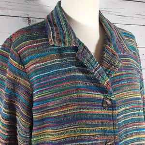 Coldwater Creek rainbow chenille boucle blazer
