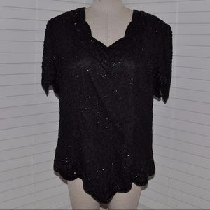 Vintage STENAY Black Beaded Silk Blouse [A5]