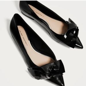 Zara pointed flats with bow