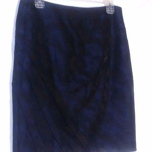 Ann Taylor Skirt Petite 8 8P Blue Black Pencil