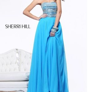 Sherri Hill blue prom dress with beading