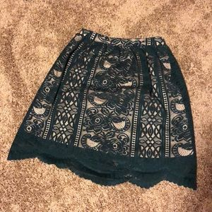 Green scalloped Lace Skirt