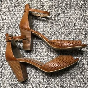 Restricted Brown Leather Heels