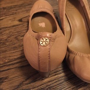 Never worn Tory Burch leather wedges