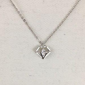 Jewelry - Diamond Shaped Cage Pendant Silver