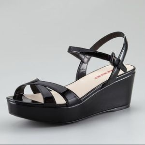 Prada Black Patent Leather Platform Wedge Sandal