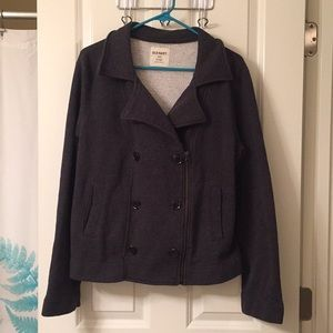 Gray cotton zipper pea coat