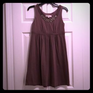 Loft - light brown empire waist gem neckline dress