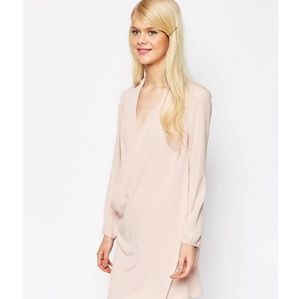 ASOS pale pink tunic dress with wrap front