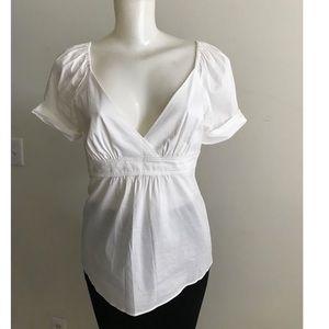 BCBG MaxAzria White Empire Waist Knit Blouse Med