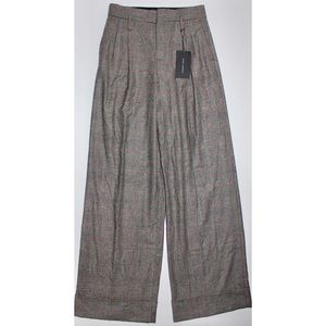 Zara Wool Plaid Wide Leg High Waist Trousers