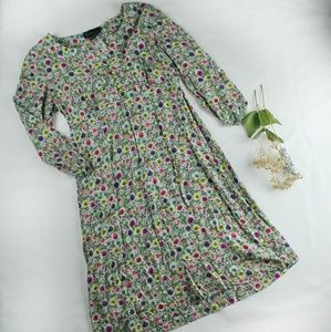 Boden Green Floral Peasant Dress