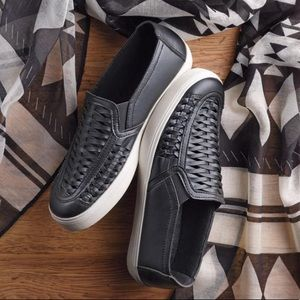 Avon Slip-On Black Woven Sneakers New In Box