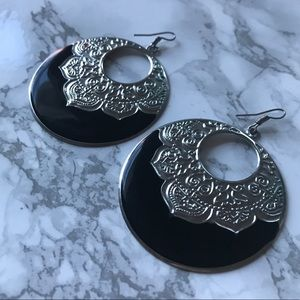Italian Design Black and Silver Earrings