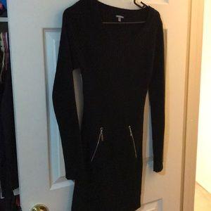 Black ribbed bodycon sweater dress