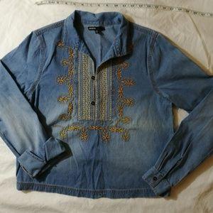 Love Culture Soft Blue Denim Tunic Size Small