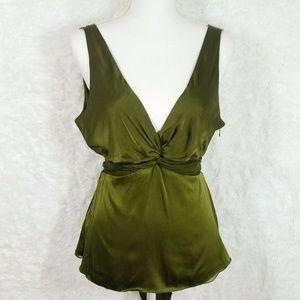 BCBGMazAzria Silk Green Tie Waist Top #107
