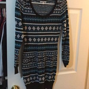 Blue fairisle print sweater dress