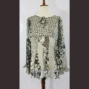 Boho sheer blouse with ruffled sleeves