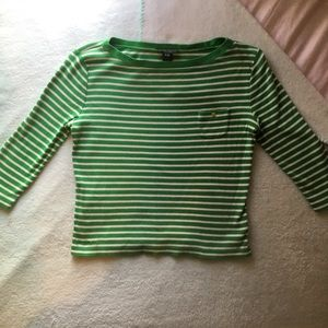 Ralph Lauren Petite Quarter Sleeve Top - Green