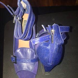 June Ambrose blue wedge shoes