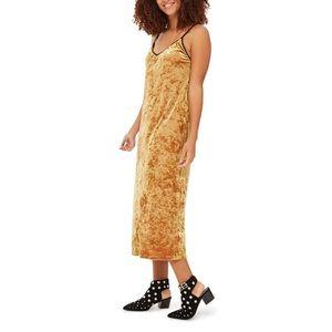 Topshop Crushed Velvet Midi Slip-dress