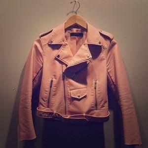 Zara Light Pink Faux Leather Moto Jacket size 4