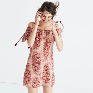 NWT Madewell silk cold-shoulder dress Large