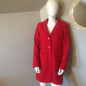 Merona red wool coat size small
