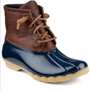 SPERRY DUCK BOOTS Navy and black leather size 7
