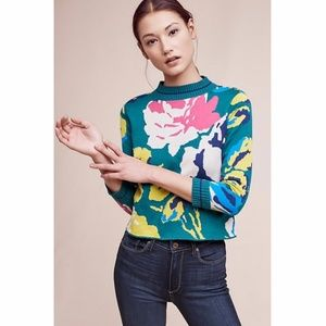 NWT ANTHROPOLOGIE Laine Floral Pullover Sweater