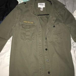 Army green button up jacket