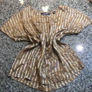 Silk brown top short sleeve