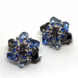 🆕Vintage Mixed Blues Rhinestone Cluster Earrings