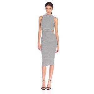MINKPINK Striped Cut Out Midi Dress