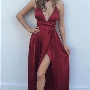 Sexy Satin NYE Dress in Wine