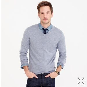 J. Crew 100% Merino Wool V-neck Sweater in Gray M