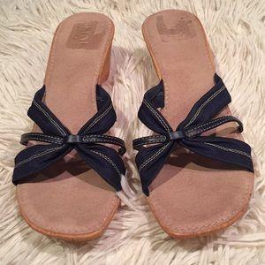 Navy blue wedges, Italian Shoemakers, size 8