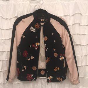Zara sating and fabric bomber jacket