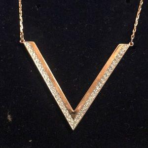 Swarovski Rose Gold Chevron Necklace