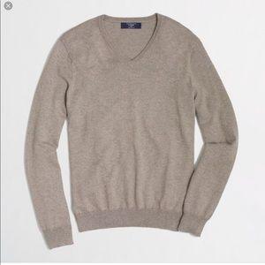 J Crew Cashmere Cotton V Neck Sweater Size L