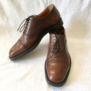 Santoni Brown Cap Toe Oxfords