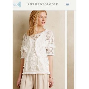 Anthropologie Fringe Lace Top
